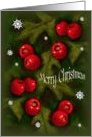Christmas, General Merry Christmas, Hawthorn Berries, Snowflakes Art card