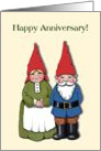 Happy Anniversary, Older Couple, Cute Gnome Couple card