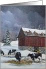 Holstein Cows in Snow, Old Red Barn: Painting, Blank Card