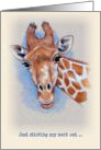 Giraffe Drawing: Thinking of you, Sticking Neck Out card