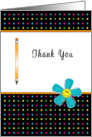 For Employee Thank You Appreciation Greeting Card-Pencil-Smiley Flower card