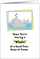 Thinking of You Away at Camp Greeting Card-Whale and Water Droplets card