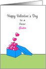 For Sister Valentine's Day Greeting Card-Box of Hearts-Custom Text card