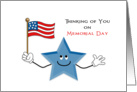 Memorial Day Greeting Card-Happy Smiling Blue Star-American Flag card