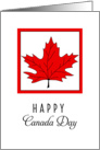 Canada Day Greeting Card-Red Maple Leaf in Square card