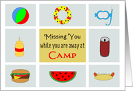 Away at Camp Greeting Card-Thinking of You-Beach Ball and Food card