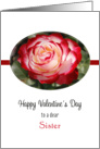 For Sister Valentine's Day Greeting Card-Red and White Rose card