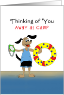 Thinking of You Away at Camp Greeting Card-Inner Tube & Dog card