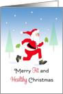 Fitness Christmas Card with Santa Running in Snow Scene card
