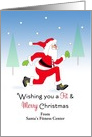 From Fitness Center Christmas Card-Santa Running-Customizable Text card