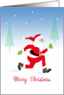 General Christmas Card with Running Santa in Snow Scene card