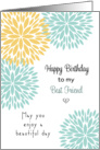 For Best Friend Birthday Card - Blue and Light Orange Flowers card