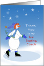 For Ice Skating Coach Thank You Card-Snowman Ice Skater card