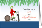 Christmas Fitness Card-Elf on Elliptical Machine card