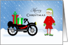 Motorcycle Christmas Card-Elf-Christmas Presents-Merry Christmas card