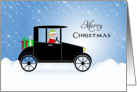 Automobile Christmas Card-Elf-Christmas Presents-Merry Christmas card