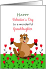 For Granddaughter Valentine's Day Card-Woodchuck and Hearts card
