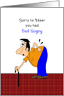 Back Surgery Card-Get Well-Feel Better-Man Bending Over Holding Back card
