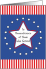 Memorial Day Greeting Card-White Star, Circle of Stars and Stripes card