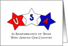 Memorial Day Greeting Card with Three Red, White and Blue Star Design card