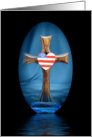 Religious Memorial Day Greeting Card-Patriotic Heart on Cross card