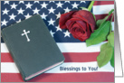 Patriotic Memorial Day Greeting Card-American Flag-Rose-Bible card