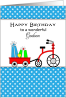 For Godson Birthday Card with Wagon-Tricycle-Presents-Bike card