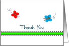 For Employee-Business Thank You Greeting Card -Red-Blue-Butterflies card