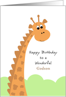 For Godson Birthday Greeting Card with Giraffe card