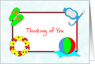 Thinking of You Away at Summer Camp-Beach Ball Snorkel Swimming card