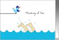 Thinking of You Away at Summer Camp Card-Feet Splashing-Swimming-Bird card