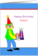 Godson Birthday Card with Clown and Presents card