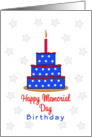 Memorial Day Birthday Greeting Card-Blue Cake, Red Candle and Stars card