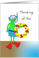 Thinking of You Away at Camp Greeting Card-Frog-Snorkel-Inner Tube card