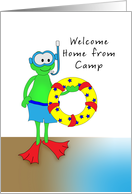 Welcome Home From Camp Greeting Card with Frog, Snorkel, Inner Tube card