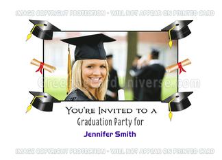 Graduation Party Invitation Photo Greeting Card-Custom Text-Diploma Greeting Card