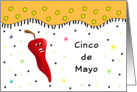 Cinco De Mayo Fiesta Greeting Card-Chili Pepper-Confetti & Star Look card