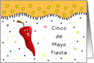 Cinco De Mayo Fiesta Invitation -Chili Pepper-Confetti & Star Look card