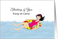 Thinking of You Away at Camp Greeting Card-Girl-Swimming-Inner Tube card