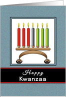 Happy Kwanzaa Greeting Card-Kinara-Candles-Red-Green-Black card