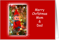 Mom and Dad Christmas Card with Elf card