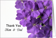 Thank You Mom and Dad, Purple Flowers card