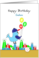 Godson Birthday Card with Blue Bird and Presents card