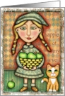 Apple Girl With Tabby Cat Card