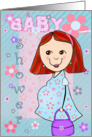 Baby shower Invitation - Red headed Mom To Be card