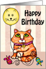 Maine Coon Cat With Balloon Birthday Card