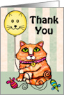 Maine Coon Cat With Balloon Thank You Card