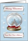 Snow Globe Deer, Tree & Snowflakes, From Our New Home, Custom Text card