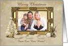 Golden Christmas Greetings Photo Card, From Our New Home card