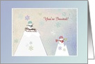 Snowpeople on Mountain, Sled & Hot Chocolate, Invitation, Custom Text card